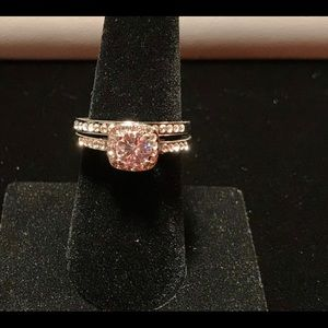 2pc set 925 Silver  White Sapphire Rings Size 8